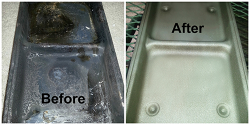 Before and after drip pan